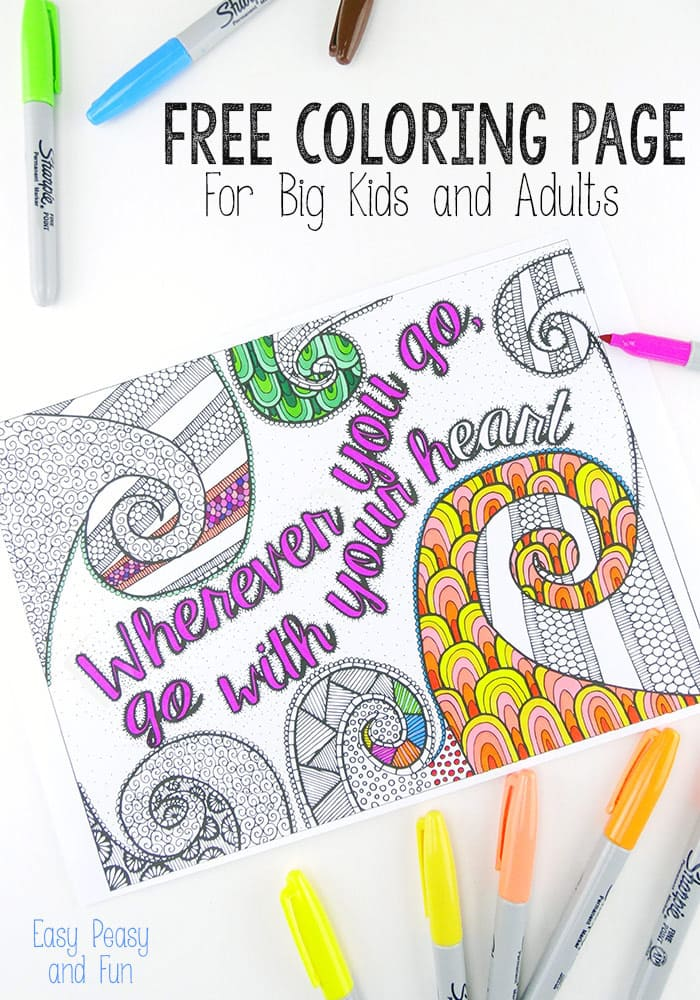 Free Coloring Page for Adults - Easy Peasy and Fun | free online coloring pages for adults easy
