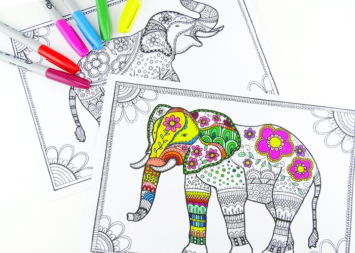Free Elephant Coloring Pages For Adults Easy Peasy And Fun