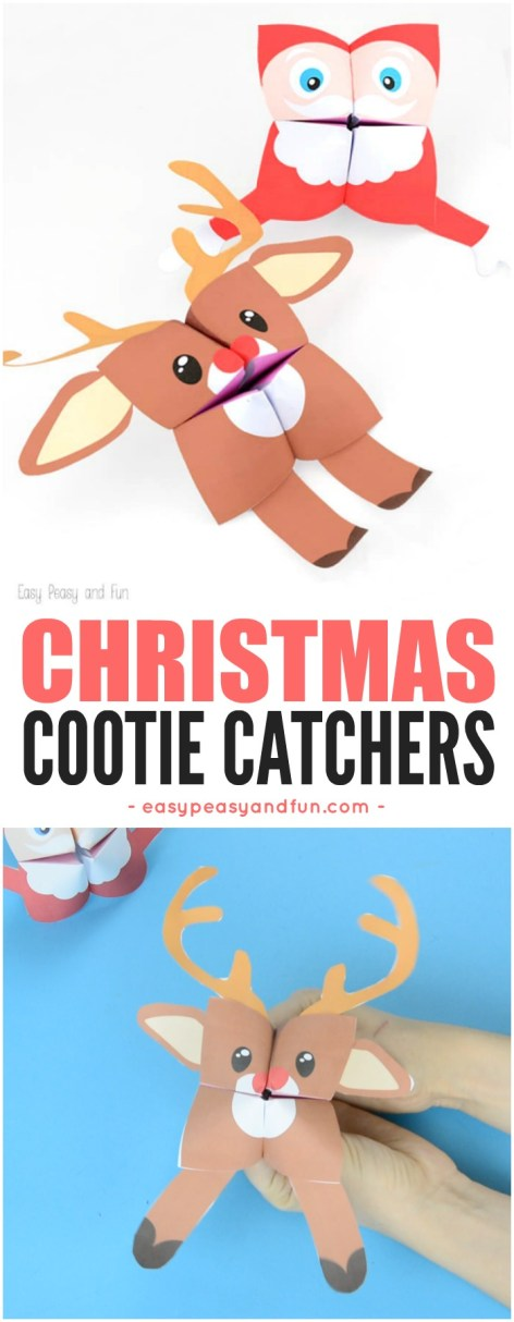 Christmas Cootie Catchers with Printable Templates Included. Super fun Christmas craft for kids to make.