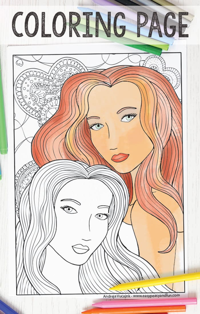 Two Women Coloring Page For Adults Easy Peasy And Fun