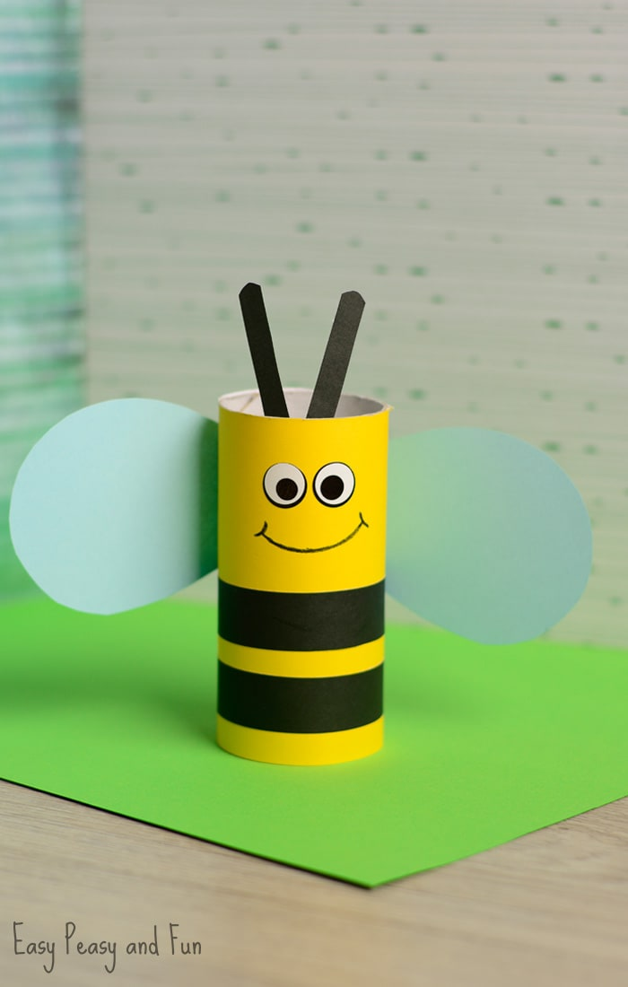Toilet Paper Roll Bee Craft For Kids Easy Peasy And Fun