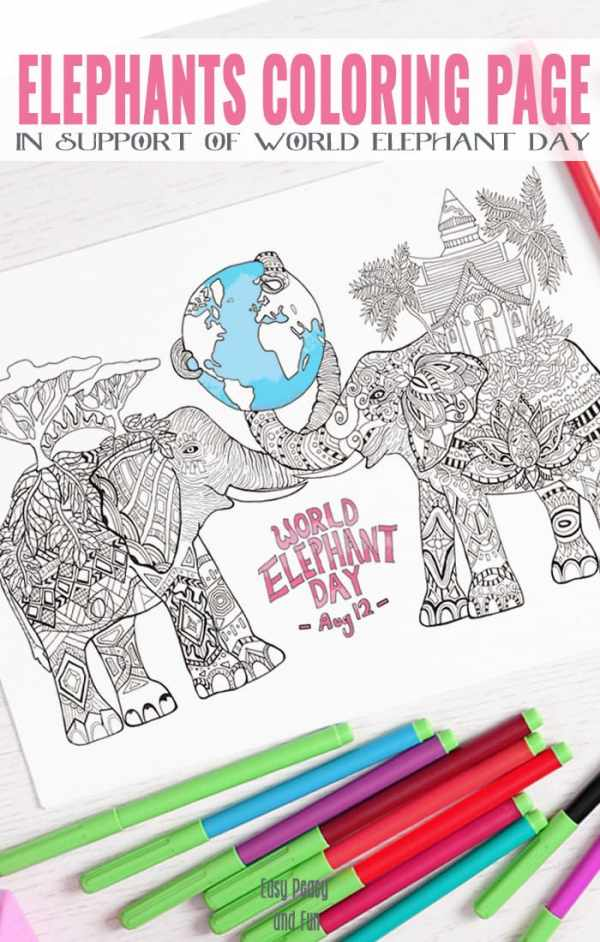 coloring pages of elephants # 25