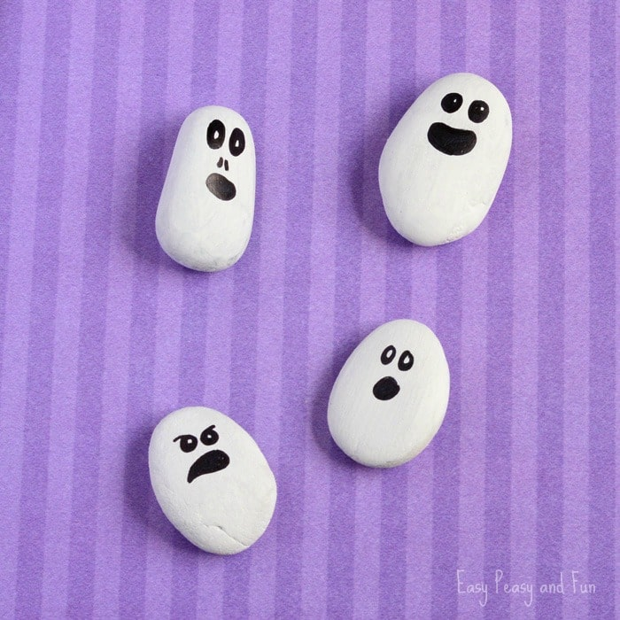 Painted Rock Ghosts Craft Halloween Craft Easy Peasy