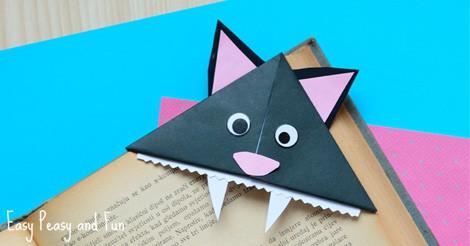 Cat Corner Bookmarks Halloween Origami For Kids Easy