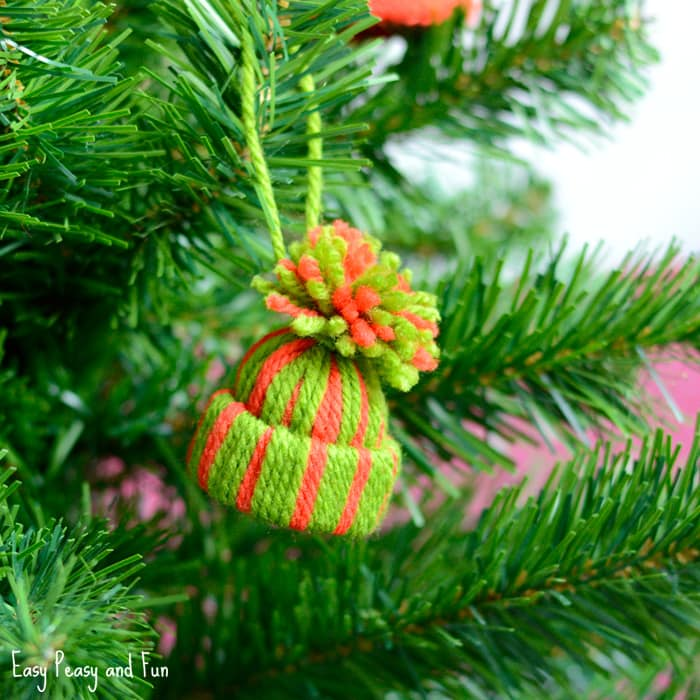 Mini Yarn Hat Ornament - DIY Christmas Ornaments