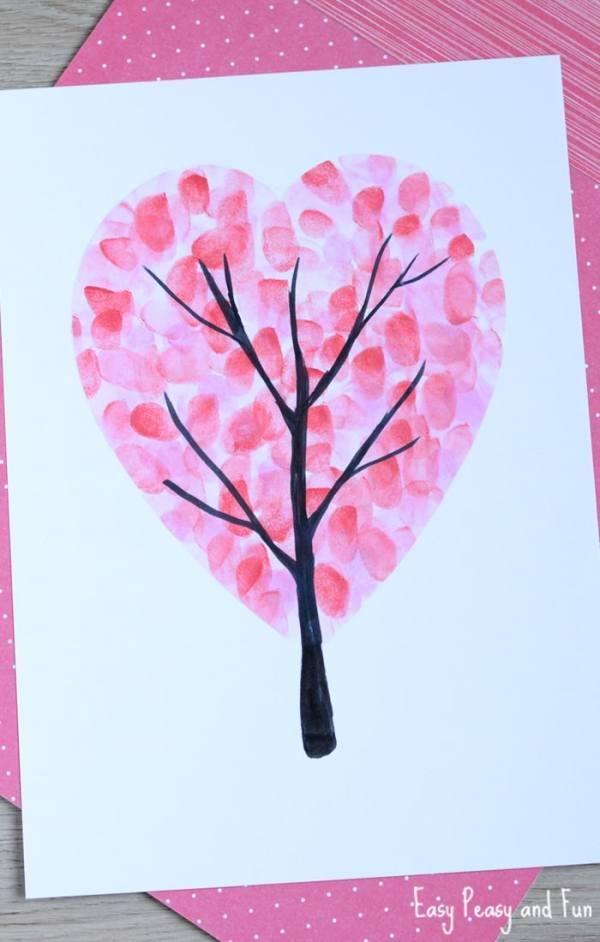 Valentines Day Heart Fingerprint Tree Craft - Easy Peasy ...