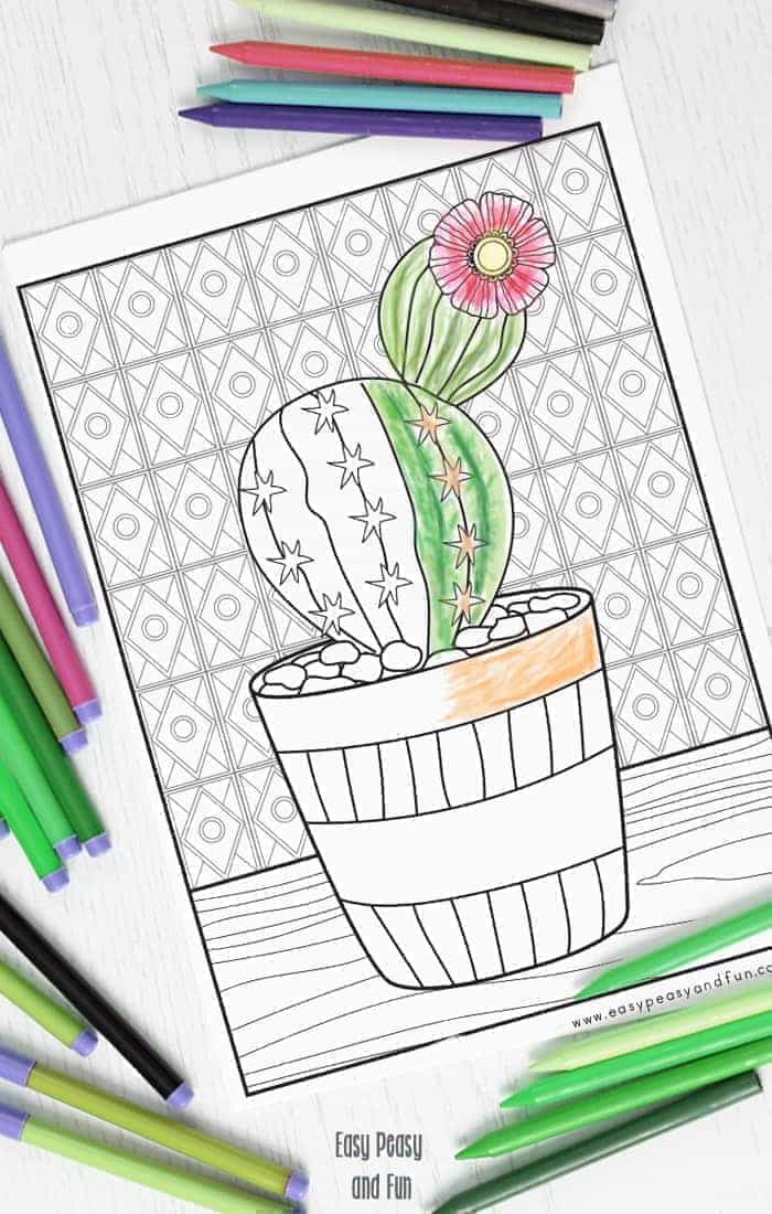 Cactus Coloring Page Easy Peasy And Fun