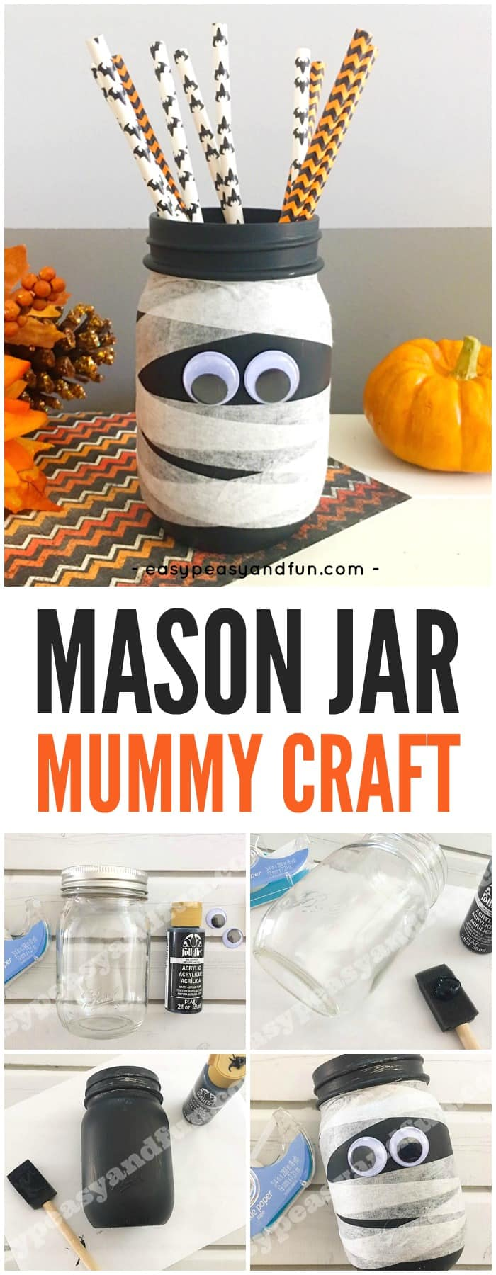 Mason Jar Mummy Craft, by Easy Peasy and Fun