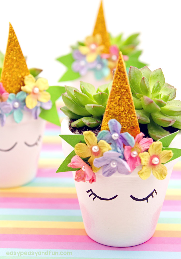 crafts for kids with paper, easy DIY craft ideas for kids, easy paper crafts for kids, DIY craft ideas Magical Unicorn Flower Pop Planters - Perfect for Succulents #unicorn #mothersday