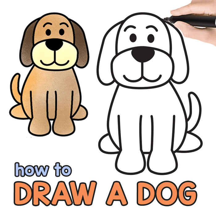 How To Draw A Dog Step By Step Drawing Tutorial For A Cute Cartoon Dog Easy Peasy And Fun