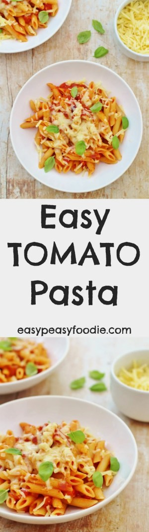 This Easy Tomato Pasta recipe is my fallback plan. If I get stuck, I always know I can make a great tasting meal (that my kids will definitely eat) in under 20 minutes, using things I always have in my kitchen. Phew! #pasta #tomato #basil #easydinners #quickdinners #cheese #easypeasyfoodie