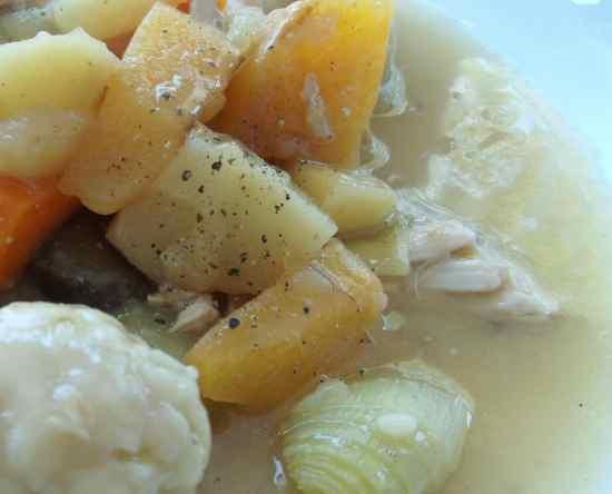 Roast Chicken Leftovers Stew with Easy Peasy Dumplings