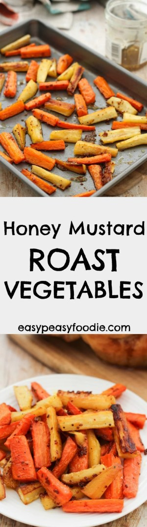 These Easy Peasy Roast Vegetables could not be simpler, simply chop the vegetablesup and put them in the oven for 45 minutes. For extra deliciousness add a honey and mustard glaze for the last 15 minutes. #honey #mustard #roast #roastveg #roastdinner #familydinners #easypeasyfoodie