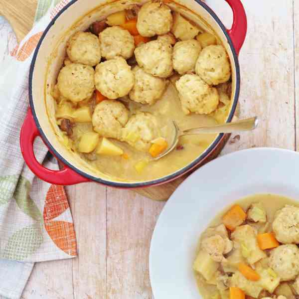 Roast Chicken Leftovers Stew and Easy Peasy Dumplings