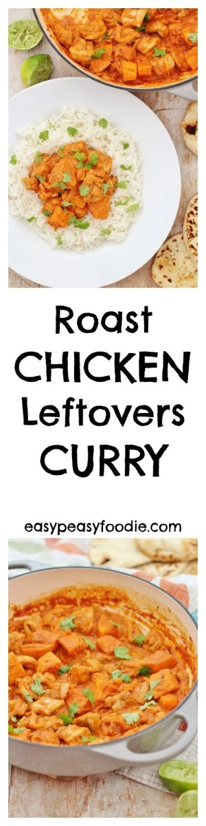 Delicious, quick and easy – this Roast Chicken Leftovers Curry is another great way to use up leftover roast chicken or turkey, or indeed any leftover meat you fancy! #roast #chicken #leftovers #curry #glutenfree #under30mins
