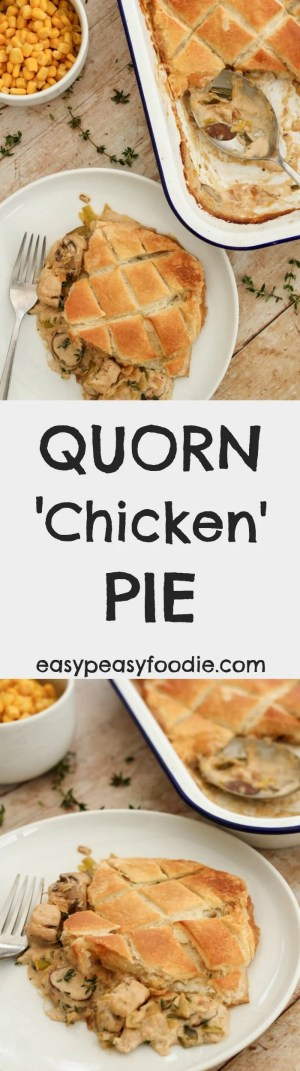 Easy to make and totally delicious, this Quorn Chicken Pie is a lovely vegetarian alternative to a roast dinner, but is quick enough to make on a busy weeknight too. #quorn #quornchicken #chickenpie #leeks #mushrooms #puffpastry #vegetarian #veggie