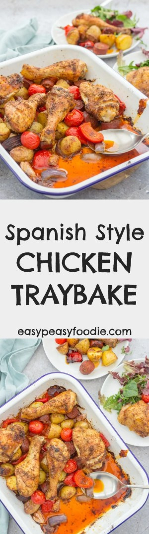 This Spanish Style Chicken Traybake combines crispy chicken, chorizo, roast peppers, new potatoes, garlic and paprika for maximum mouthwatering Spanish deliciousness with a minimum of fuss - just 15 minutes hands on time and the oven takes care of the rest! #traybake #chicken #spanish #spanishchicken #chorizo #paprika #chickentraybake #easydinners #midweekmeals #familydinners #easypeasyfoodie