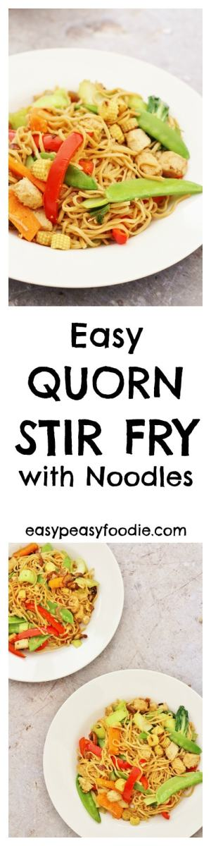 This Easy Quorn Stir Fry is a dish that I have been making for my family for years. I really love stir fries as they are so quick and easy – this one can be made in less than 15 minutes. A stir fry is also a great way to use up leftover vegetables and is very flexible. The vegetables I have suggested in this recipe are really just a starting point – use whatever you have lurking in your fridge! #quorn #strirfry #noodles #vegetarian