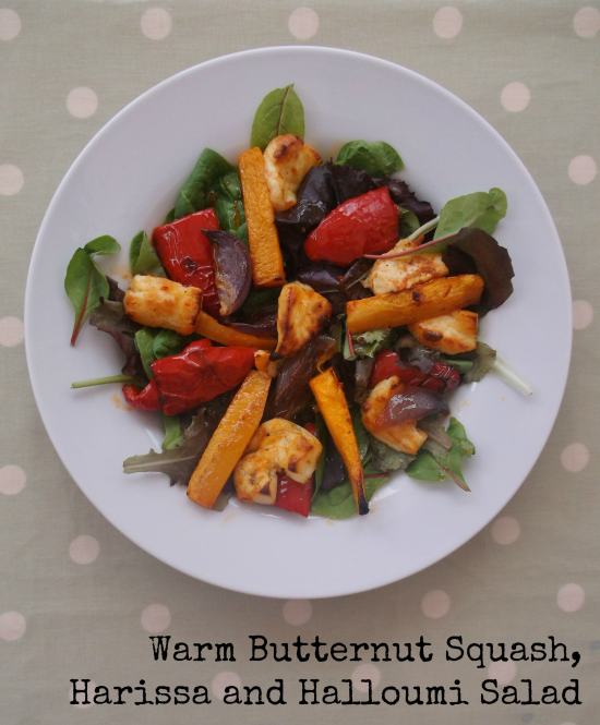 Warm Butternut Squash, Harissa and Halloumi Salad 2 with text