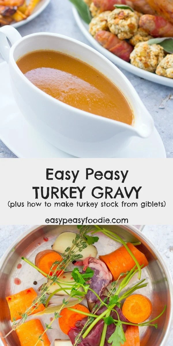 Want to make delicious Easy Peasy Turkey Gravy made from scratch – including making the stock from the turkey giblets? Then you will love this recipe! The turkey stock can also be made ahead and frozen - meaning one less job to do on Christmas day. #turkey #gravy #turkeygravy #turkeygiblets #gibletstock #turkeystock #gravyfromscratch #thanksgivingfood #christmasfood #easysides #easysauces #easypeasyfoodie #cookblogshare #freefromgang
