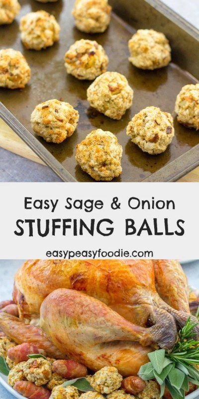 Want an easy stuffing recipe that can be made ahead of time and takes just a few minutes? Try my delicious Easy Sage and Onion Stuffing Balls recipe that has been in my family for decades! #stuffing #sageandonionstuffing #stuffingballs #turkeystuffing #chickenstuffing #duckstuffing #christmasstuffing #thanksgivingstuffing #easysides #holidaysides #christmasfood #thanksgivingfood #easypeasyfoodie #cookblogshare