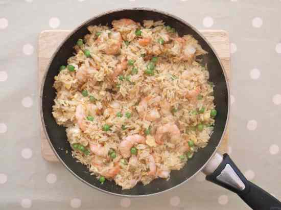 Egg Fried Rice with Prawns and Peas