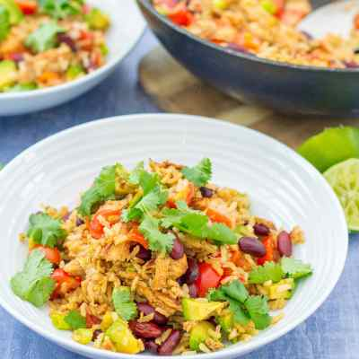 Warm Mexican Style Rice Salad with Leftover Turkey