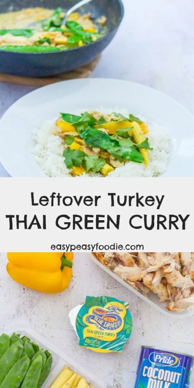 Want a super easy, totally delicious meal that is totally different from the usual leftover turkey recipes? Why not try my Leftover Turkey Thai Green Curry? #thaicurry #thaigreencurry #turkey #roastturkey #leftoverturkey #turkeyleftovers #thanksgiving #christmas #boxingday #easydinners #easymeals #midweekmeals #familydinners #easypeasyfoodie #freefromgang #cookblogshare