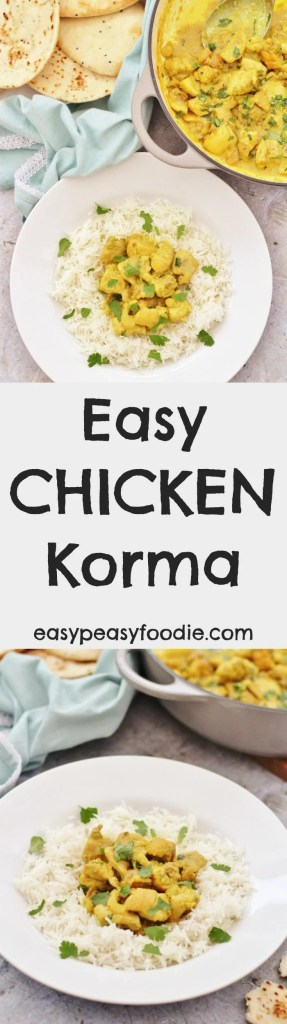 Mild and creamy with just a touch of spice, thisEasy Chicken Korma is perfect for kids and those who don't like their curries too hot. This simple curry recipe is very easy to make and takes just 25 minutes - ideal for busy weeknights! #easy #chicken #korma #dairyfree #glutenfree #mild #easydinners #under30minutes