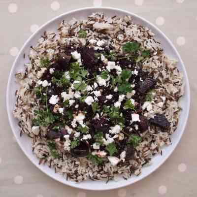 Warm Lentil, Beetroot and Feta Salad with Wild Rice