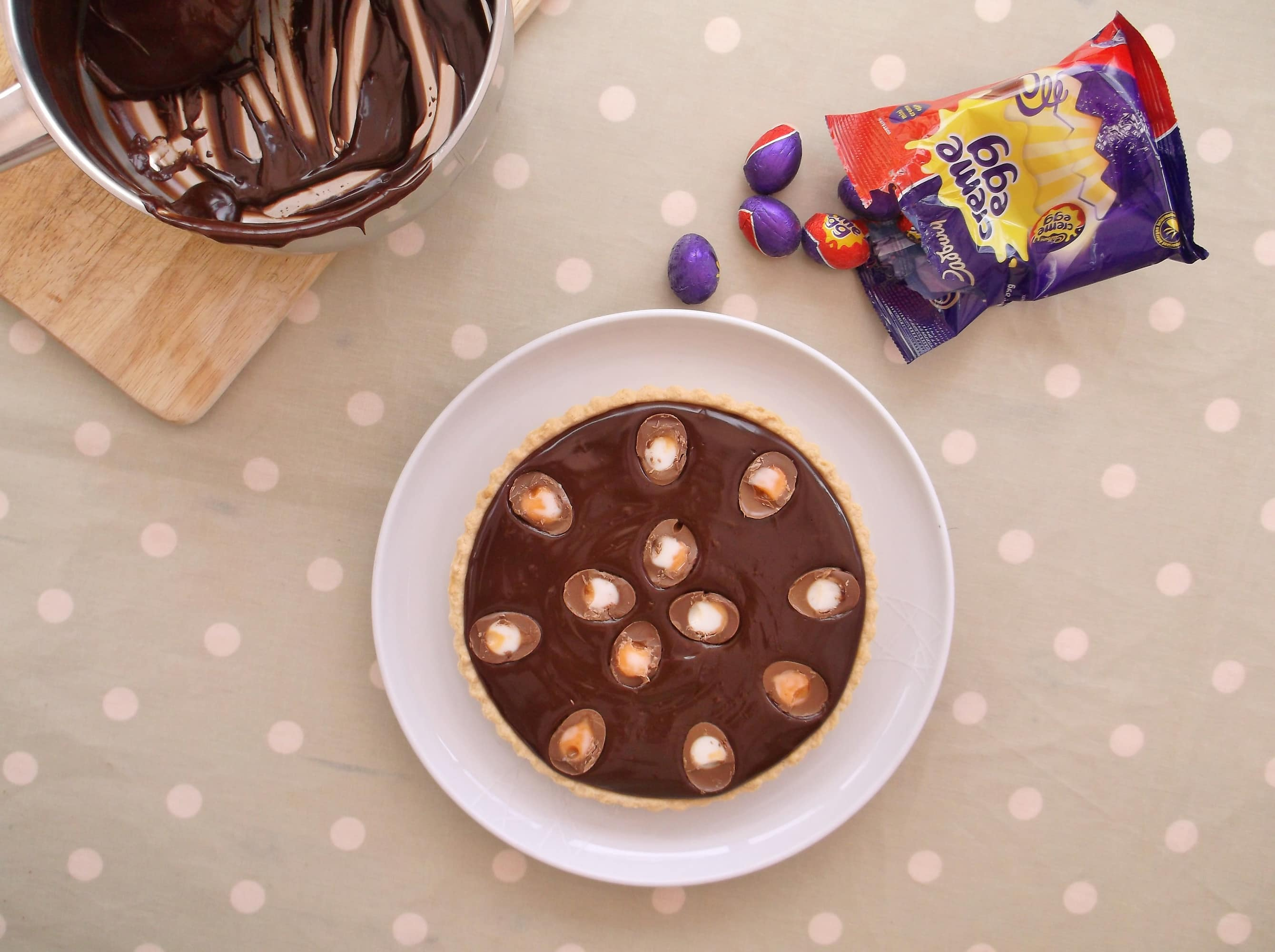 Easy Peasy 5 Ingredient Creme Egg Chocolate Tart - Easy Peasy Foodie