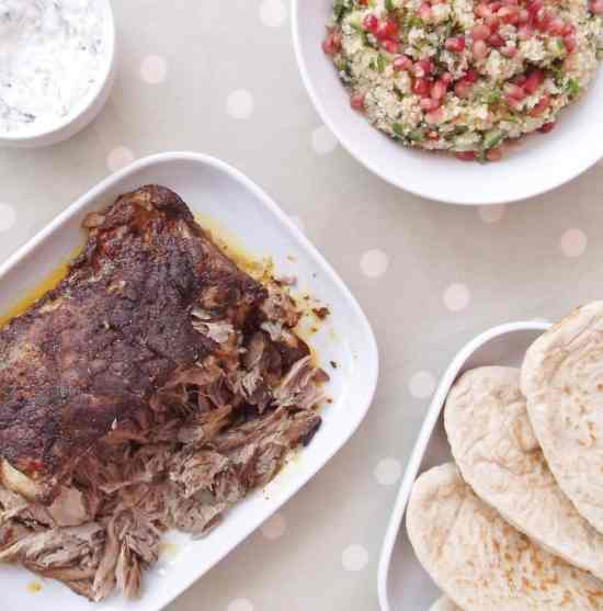 Slow Roast Ras el Hanout Lamb with Pomegranate and Quinoa Tabbouleh