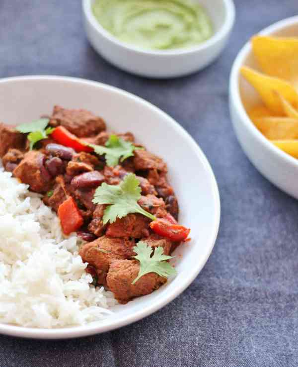 Slow Cooked Chilli Beef with Easy Peasy Guacamole