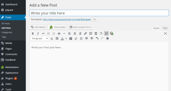 Bluehost WordPress Write New Post