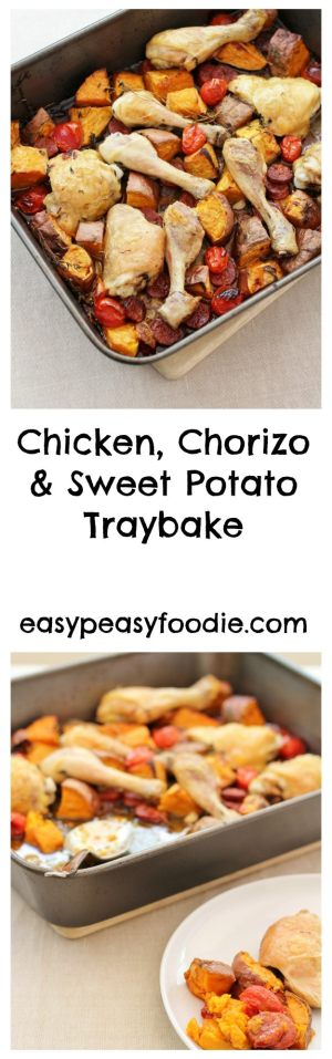 Chorizo, Chicken and Sweet Potato Traybake