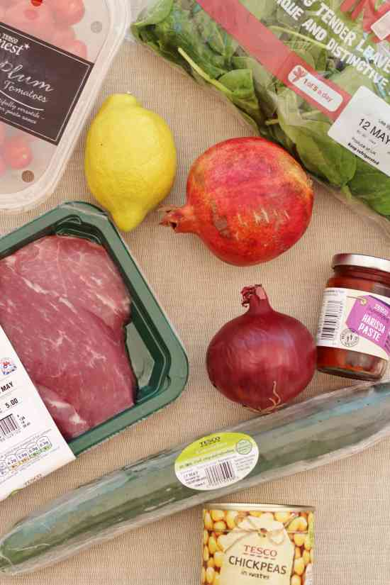 Ingredients for Harissa Lamb with Chickpea and Pomegranate Salad