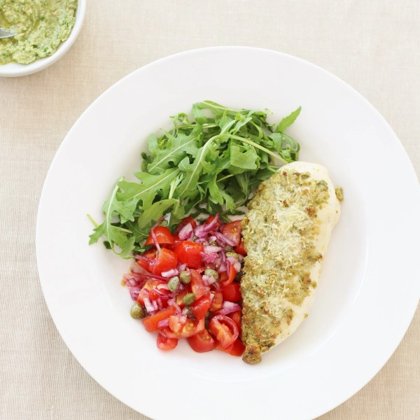 Baked Chicken Breast With Walnut and Parsley Pesto from the Sirtfood Diet