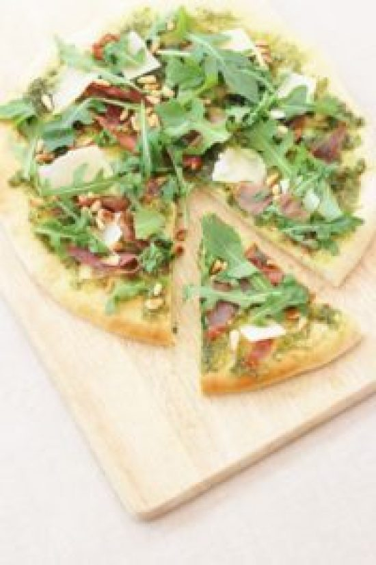 Pesto Pizza with Grana Padano and Prosciutto di San Daniele