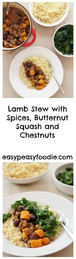 A delicious, easy and seasonal recipe from the 'LAMB. Tasty Easy Fun' Campaign, this Lamb Stew with Spices, Butternut Squash and Chestnuts is perfect for a busy weeknight. #lamb #stew #lambstew #chestnuts #squash #kale #bulgurwheat #couscous #easypeasyfoodie