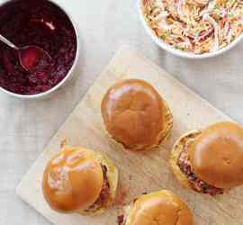 Christmas Turkey Burgers with Cranberry Relish and Sproutslaw