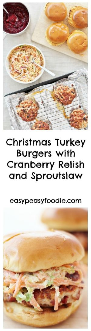 Introducing my latest invention: Christmas Turkey Burgers!! These easy to make turkey burgers are flavoured with sage, onions and bacon and topped with Cranberry Relish and Sproutslaw – all the flavours of Christmas in burger form! #christmas #turkey #burger #christmasburger #turkeyburger #cranberrysauce #sprouts #sproutslaw #easypeasychristmas #easypeasyfoodie