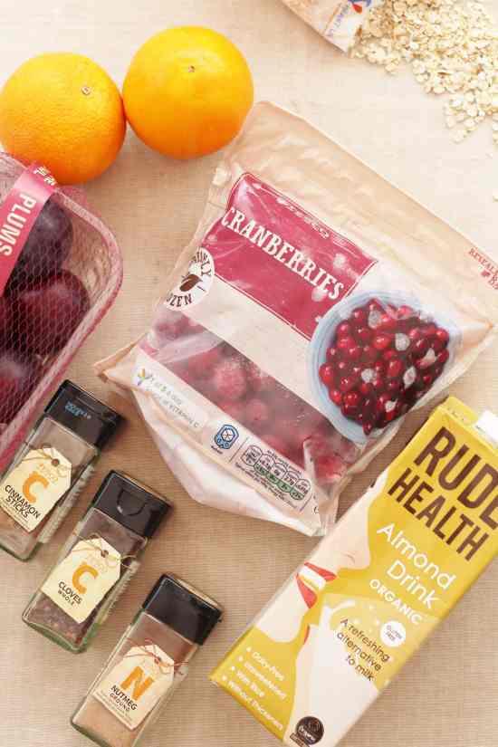 Cinnamon Porridge with Cranberry and Plum Compote