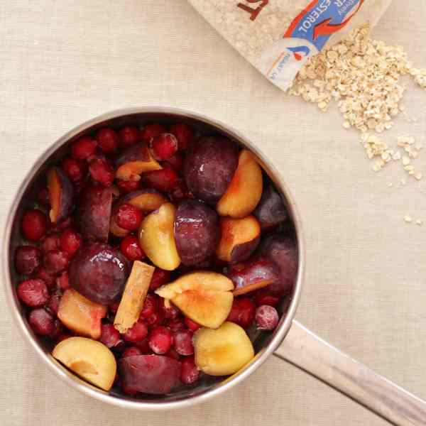 Cinnamon Porridge with Cranberry and Plum Compote