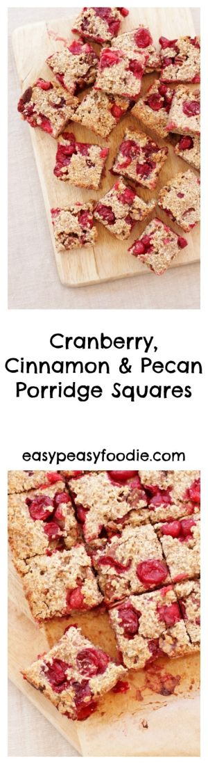 These quick and simple Cranberry, Cinnamon and Pecan Porridge Squares would make a deliciously easy peasy Christmas breakfast or healthy festive snack. They are also gluten free, dairy free and suitable for vegans!! #christmas #glutenfree #dairyfree #vegan #breakfast #healthy #easypeasychristmas #easypeasyfoodie