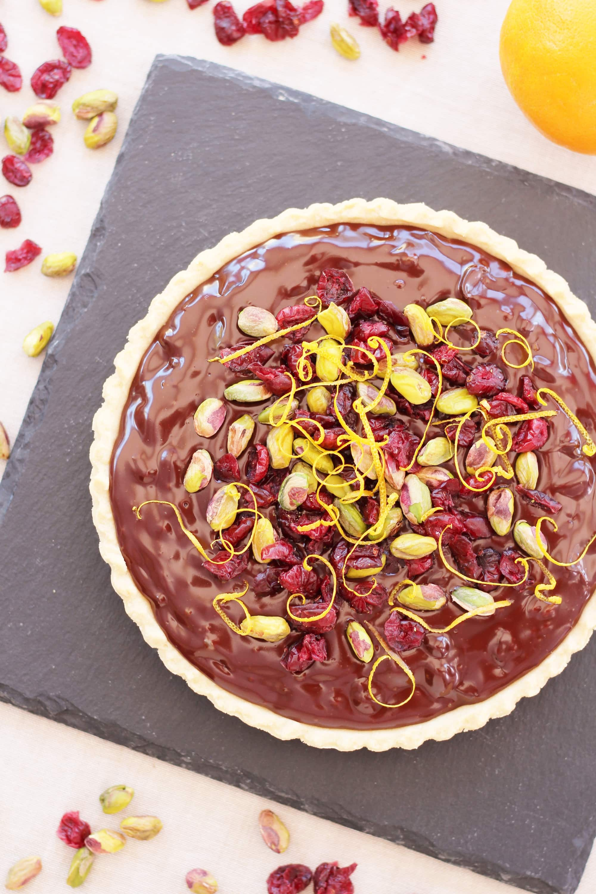 Chocolate Tart with Cranberries, Orange and Pistachios - Easy ...