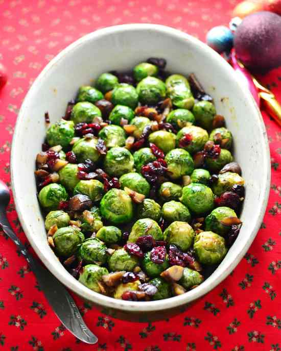 Christmas Sprouts with Cranberries, Chestnuts and Orange