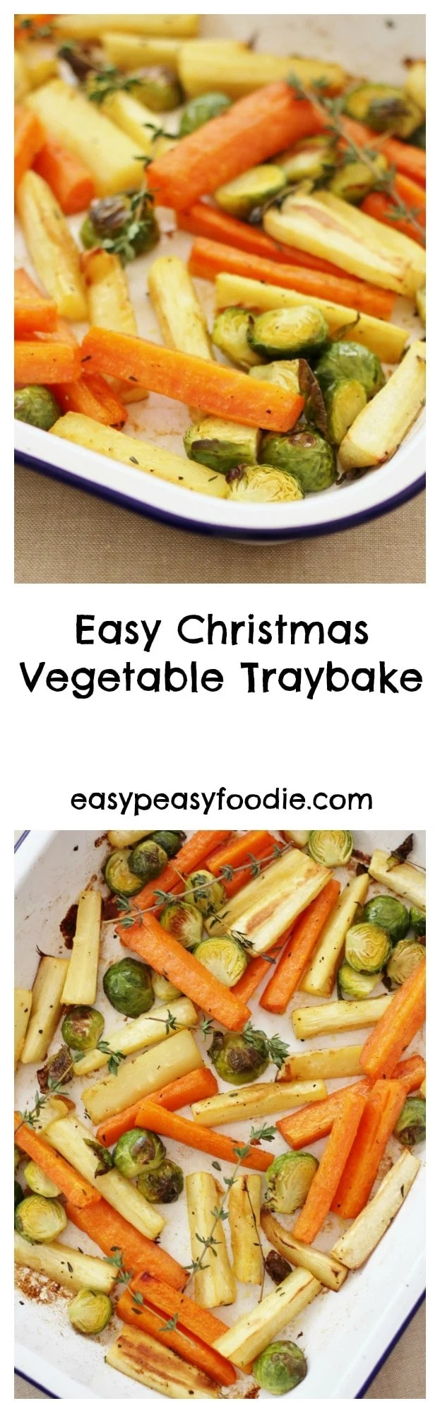 In my quest to make cooking Christmas dinner less stressful, I have createdthis Easy Christmas Vegetable Traybake. Roasting the parsnips, carrots and sprouts all together in one tray means you can relax and have a glass of bubbly instead of juggling pots and pans like a mad thing this Christmas. #christmas #vegetables #christmasvegetables #traybake #christmastraybake #easychristmasvegetables #stressfreechristmas #easychristmas #easypeasychristmas #easypeasyfoodie #freefromgang #cookblogshare