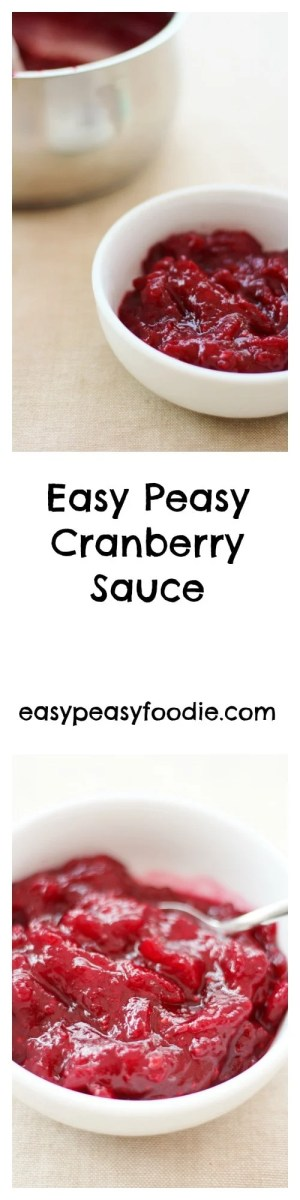 Need a simple, foolproof cranberry sauce recipe that only uses 3 ingredients? Try my Easy Peasy Cranberry Sauce. It only takes 15 minutes and you can even use frozen cranberries! #cranberries #cranberry #cranberrysauce #easycranberrysauce #cranberryrelish #christmas #easypeasychristmas #easypeasyfoodie