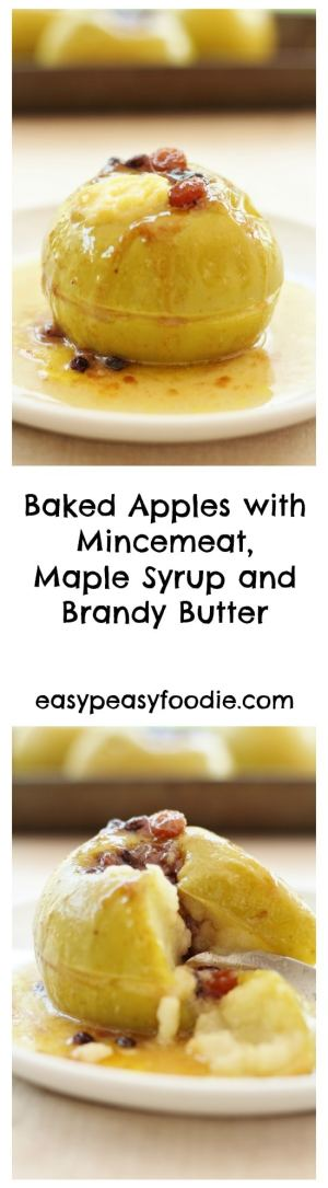 Whether you want a decadent festive pud to get you in the mood for Christmas or an easy peasy way of using up leftover mincemeat after Christmas, these Baked Apples with Mincemeat, Maple Syrup and Brandy Butter are sure to hit the spot! #christmas #apples #bakedapples #maplesyrup #brandybutter #christmasleftovers #easypeasychristmas #easypeasyfoodie