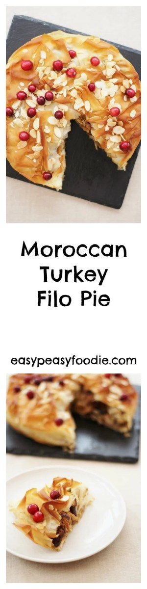 Turkey gets the star treatment in this gorgeous Moroccan Turkey Filo Pie, bursting with fruit, nuts and spices – perfect for your leftover turkey on Boxing Day or even as an alternative to a traditional roast turkey on Christmas Day. #turkey #leftovers #leftoverturkey #turkeypie #christmasleftovers #filopastry